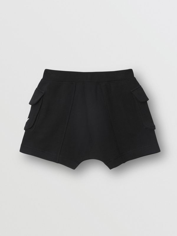 Logo Print Cotton Drawcord Shorts in Black | Burberry - cell image 3