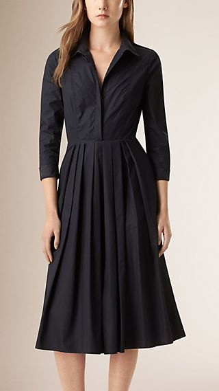 Check Detail Pleated Cotton Shirt Dress