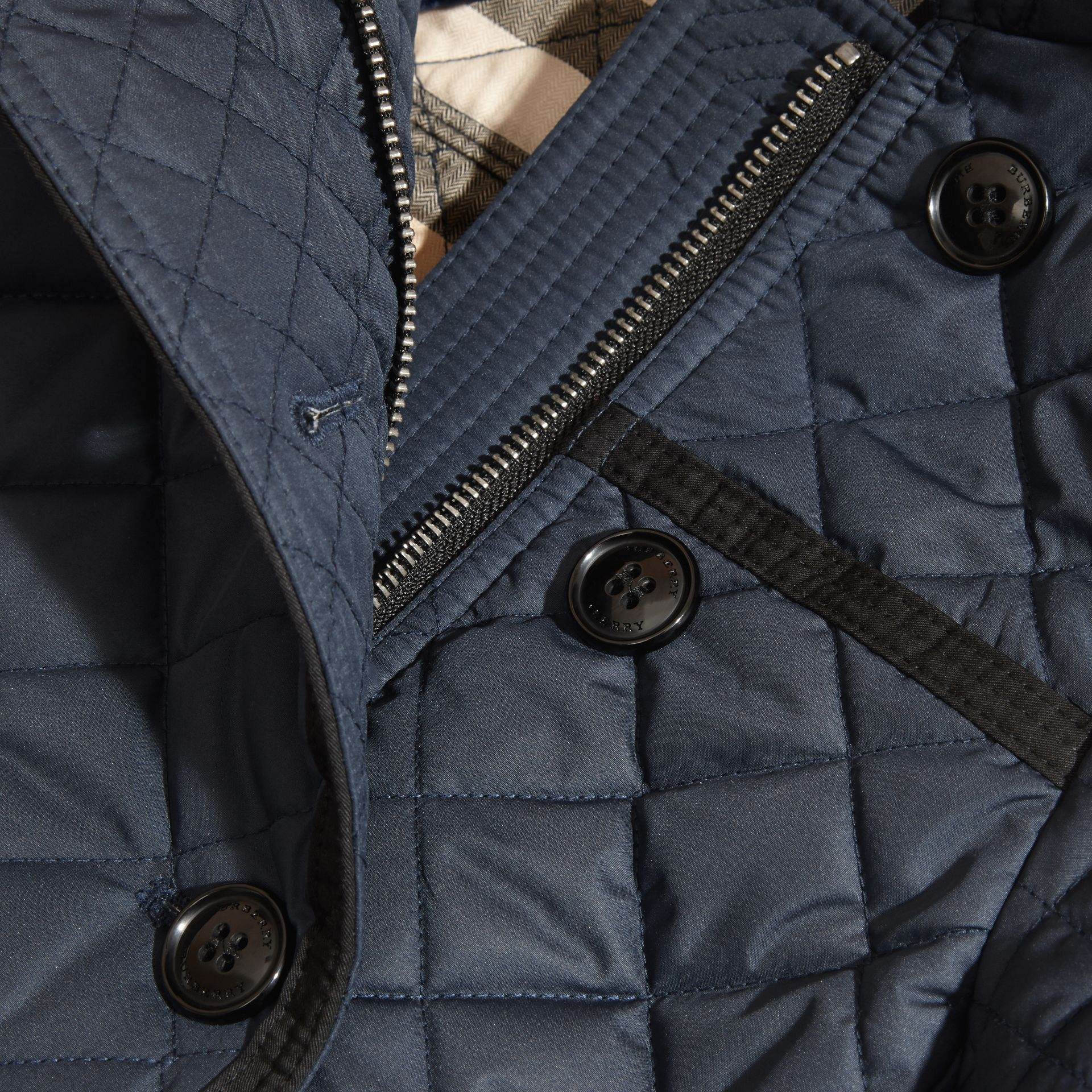 Diamond-quilted Coat with Detachable Hood in Ink Blue - Girl | Burberry - gallery image 1