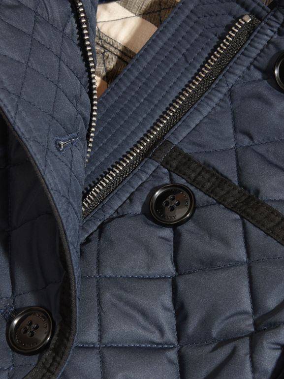 Diamond-quilted Coat with Detachable Hood in Ink Blue - Girl | Burberry - cell image 1