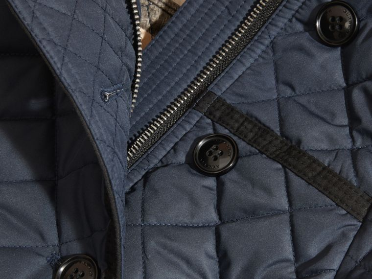 Diamond-quilted Coat with Detachable Hood in Ink Blue - Girl | Burberry Hong Kong - cell image 1