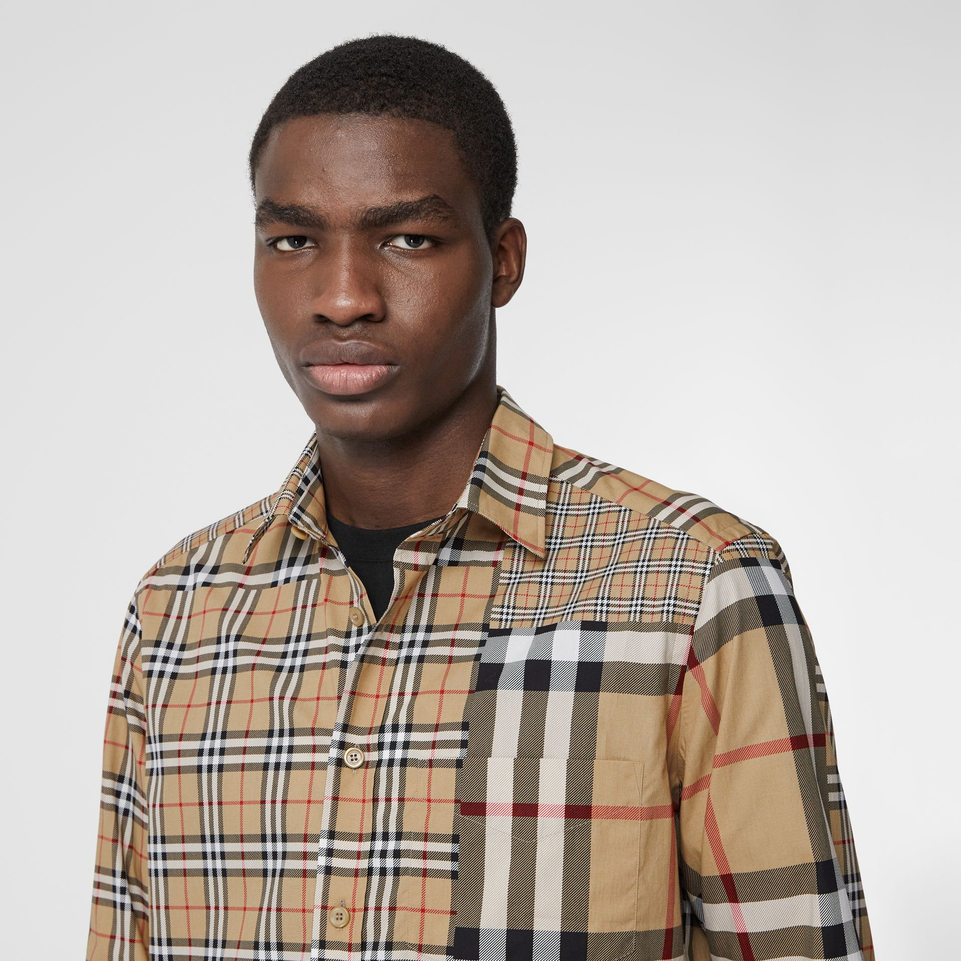 Classic Fit Patchwork Check Cotton Shirt in Archive Beige | Burberry United Kingdom - gallery image 1