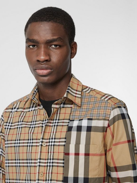 Classic Fit Patchwork Check Cotton Shirt in Archive Beige | Burberry United Kingdom - cell image 1