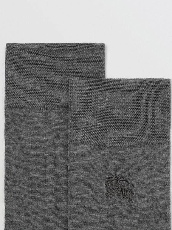 Embroidered EKD Cotton Blend Socks in Mid Grey Melange | Burberry - cell image 1