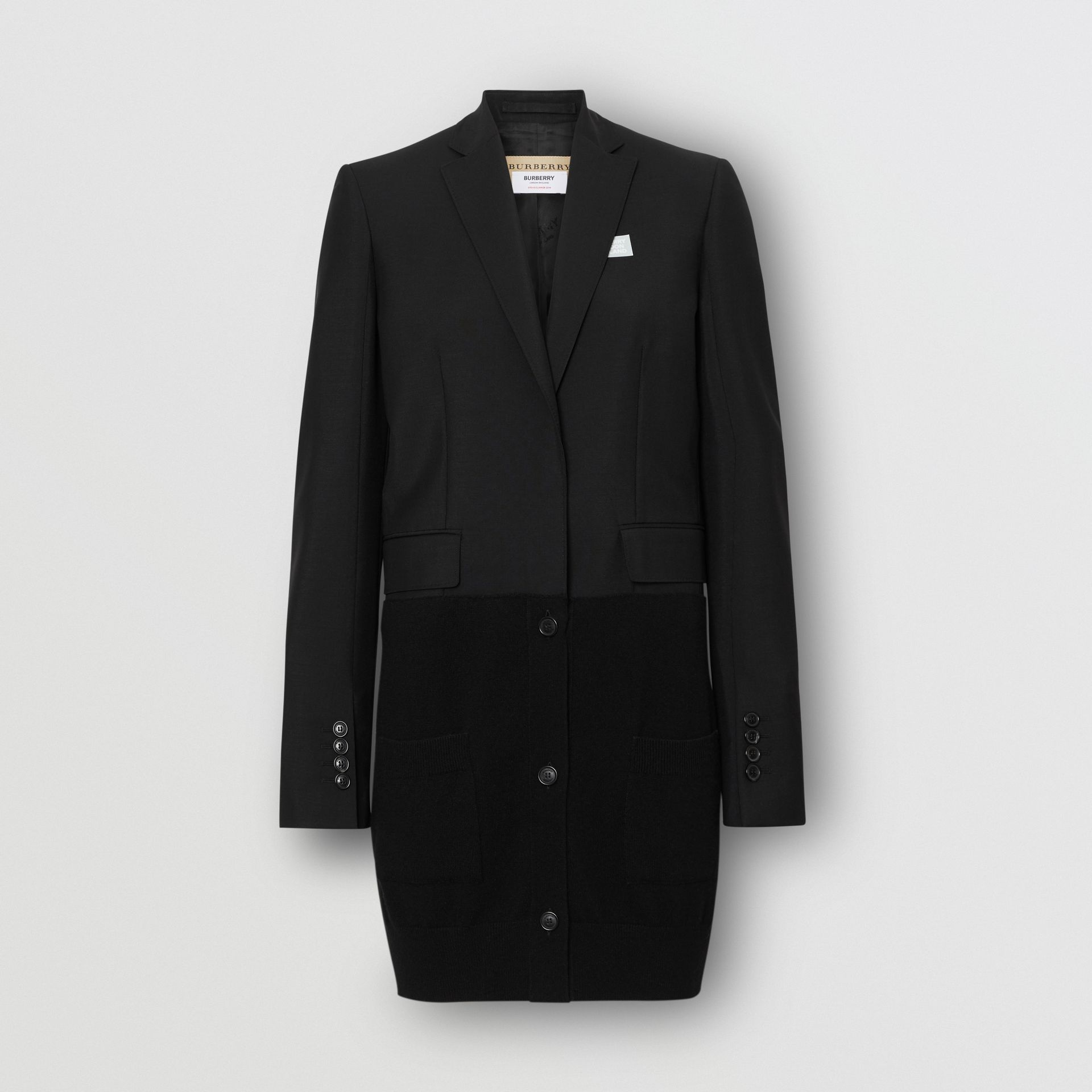 Cashmere Panel Wool Mohair Tailored Jacket in Black - Women | Burberry - gallery image 3