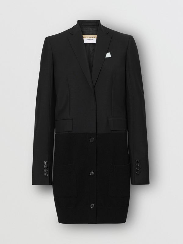 Cashmere Panel Wool Mohair Tailored Jacket in Black - Women | Burberry Canada - cell image 3