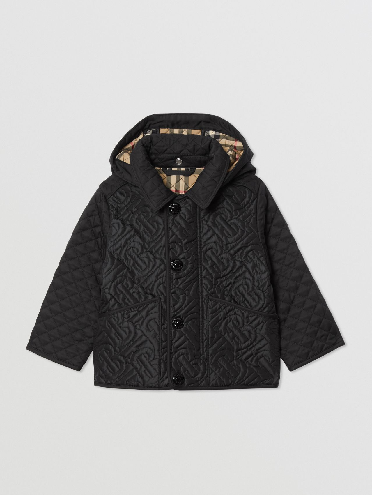 Detachable Hood Monogram Quilted Jacket in Black
