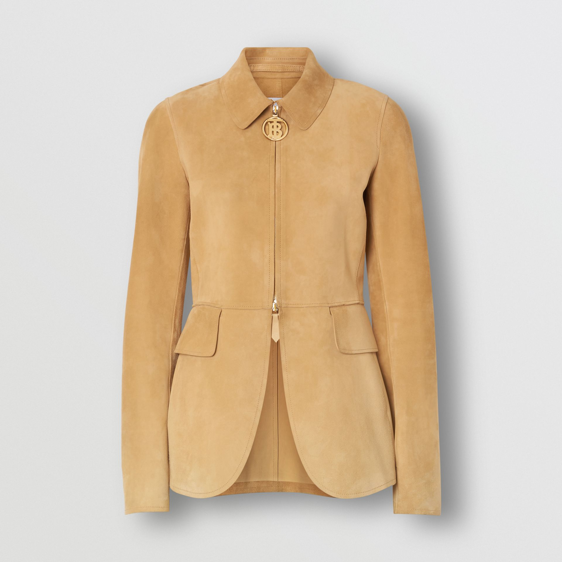 Monogram Motif Suede Riding Jacket in Sand - Women | Burberry - gallery image 2