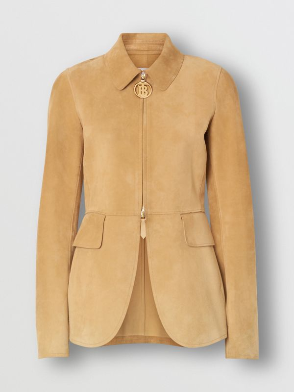 Monogram Motif Suede Riding Jacket in Sand - Women | Burberry - cell image 3