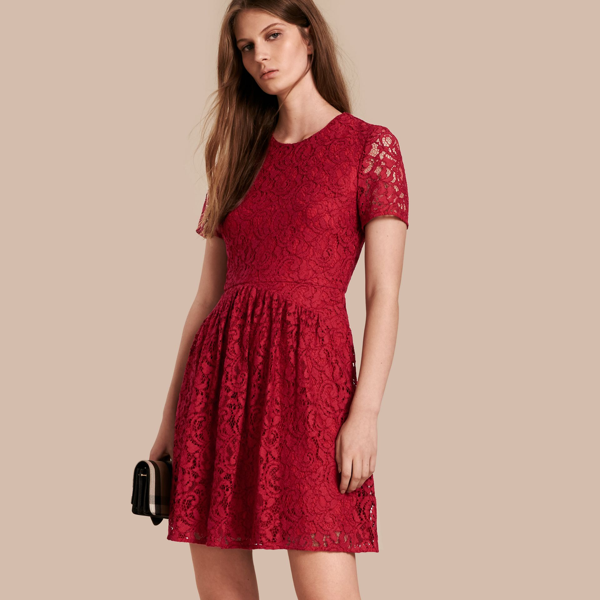 Fit-and-flare Dropped-waist Lace Dress in Parade Red - gallery image 1