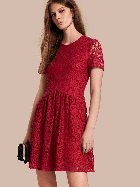 Fit-and-flare Dropped-waist Lace Dress in Parade Red