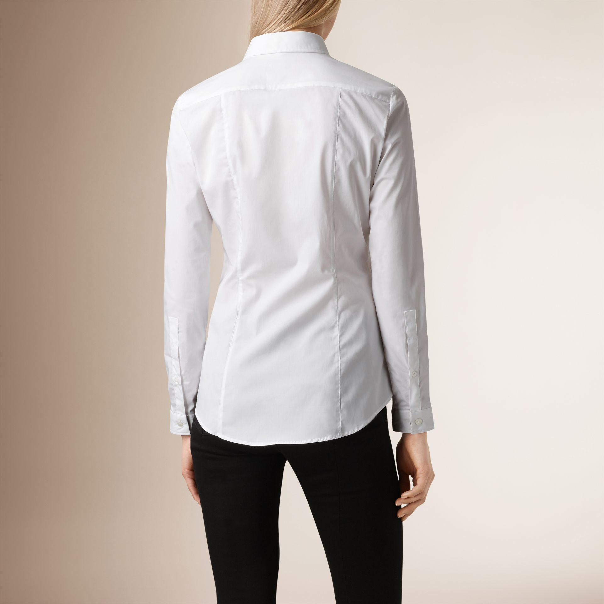 Check Cuff Stretch Cotton Shirt in White - Women | Burberry - gallery image 1