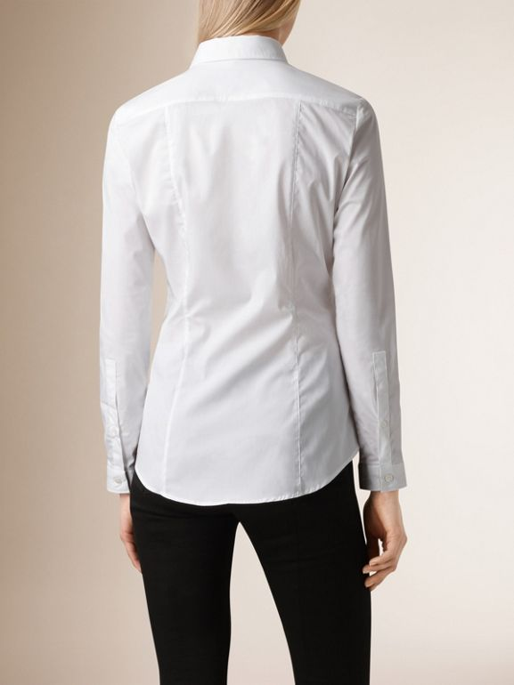 Check Cuff Stretch Cotton Shirt in White - Women | Burberry - cell image 1