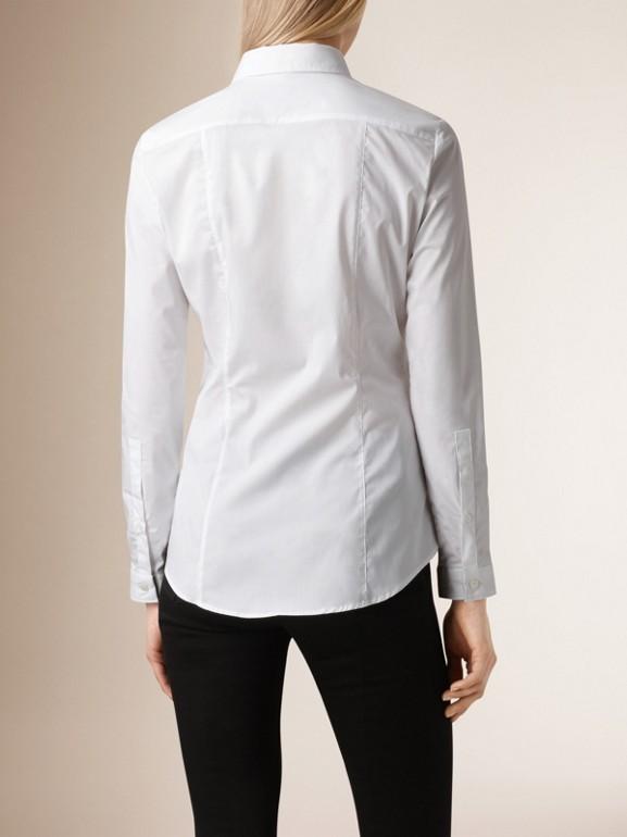 Camisa de algodão stretch com punhos em xadrez (Branco) - Mulheres | Burberry - cell image 1