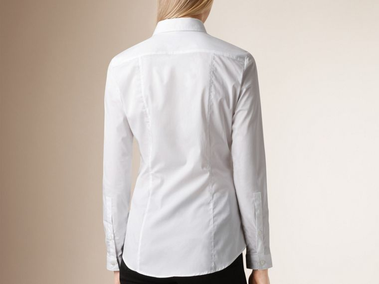 Check Cuff Stretch Cotton Shirt in White - Women | Burberry United States - cell image 1