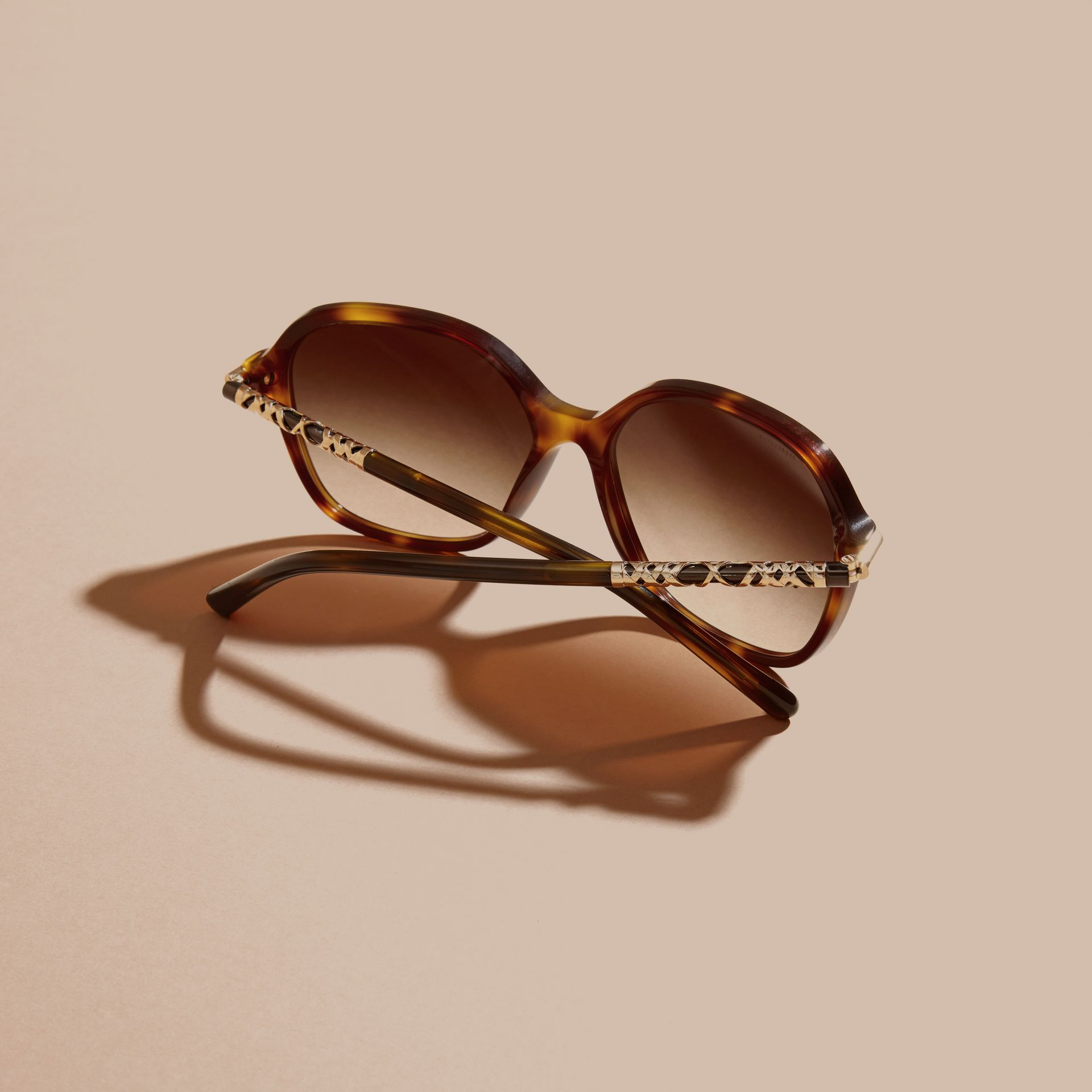 Check Detail Round Frame Sunglasses in Light Russet Brown - gallery image 4