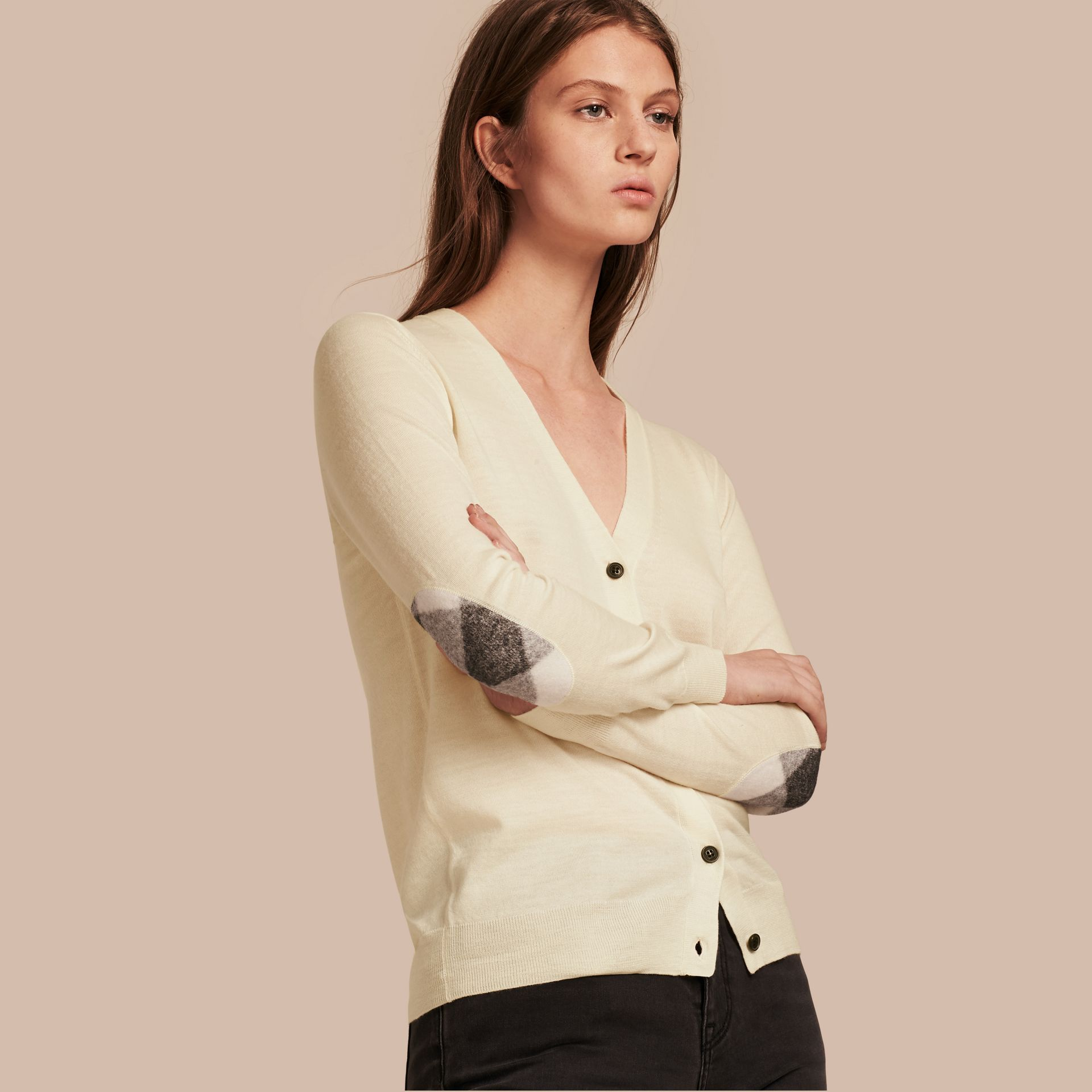 Check Detail Merino Wool Cardigan in Natural White - gallery image 1