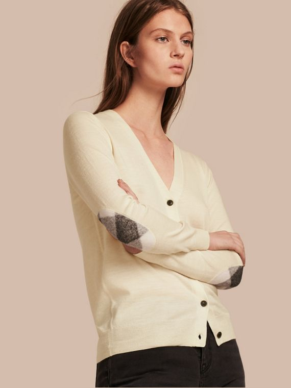Check Detail Merino Wool Cardigan Natural White