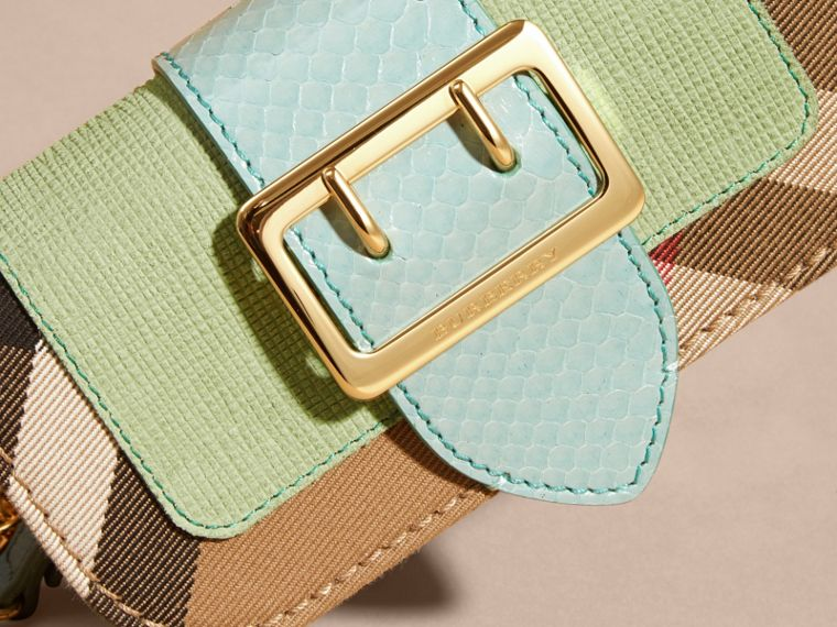 Light mint The Mini Buckle Bag in Snakeskin and House Check - cell image 1