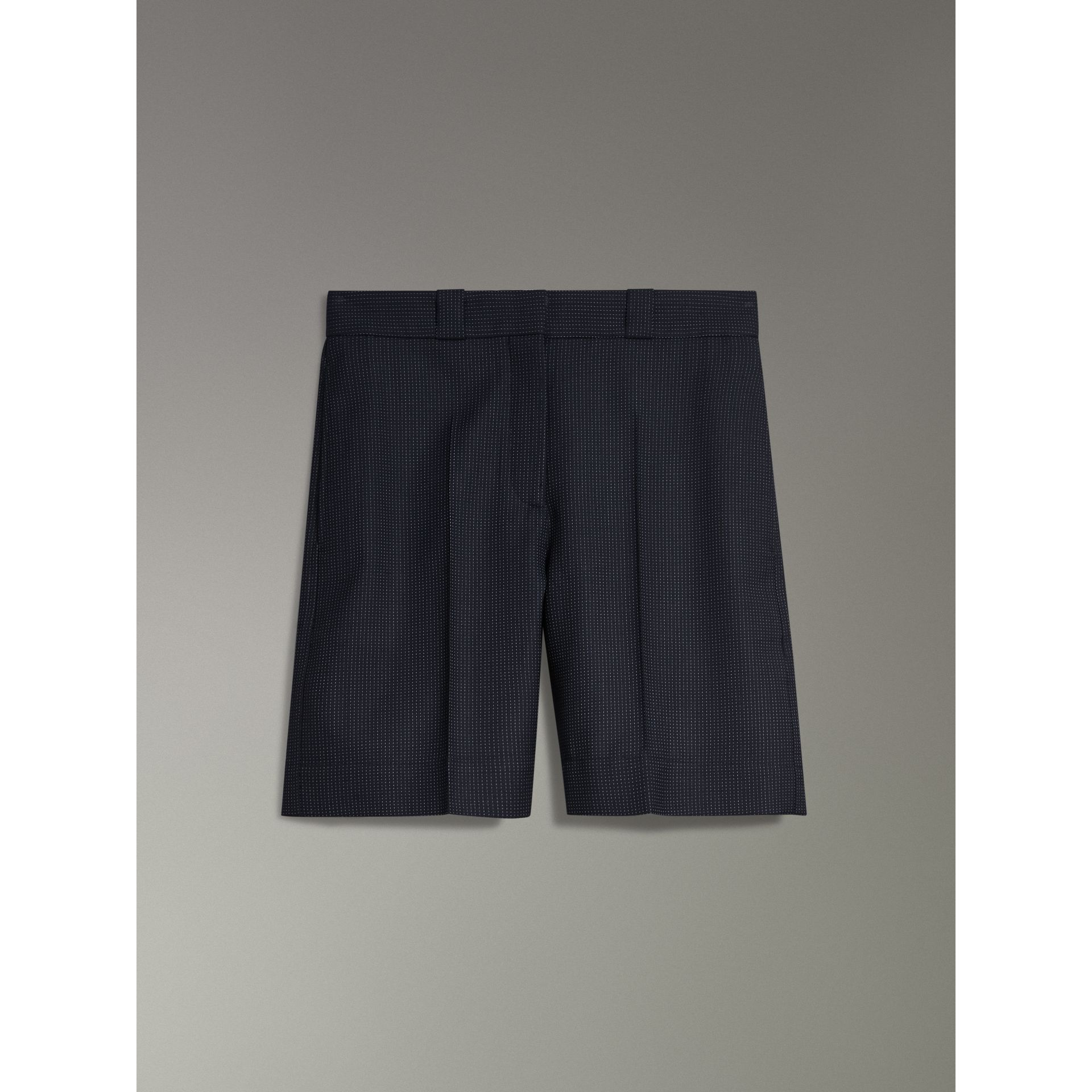 Pin Dot Wool Tailored Shorts in Navy - Women | Burberry United States - gallery image 3