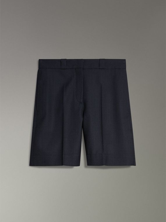 Pin Dot Wool Tailored Shorts in Navy - Women | Burberry Australia - cell image 3