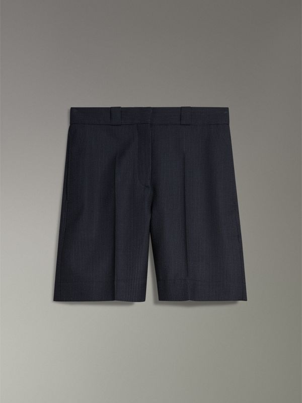 Pin Dot Wool Tailored Shorts in Navy - Women | Burberry - cell image 3