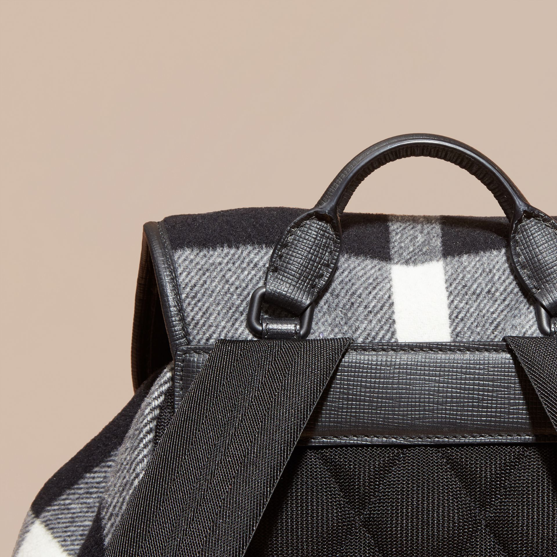 Black The Large Rucksack in Check Wool Blend and Leather Black - gallery image 6