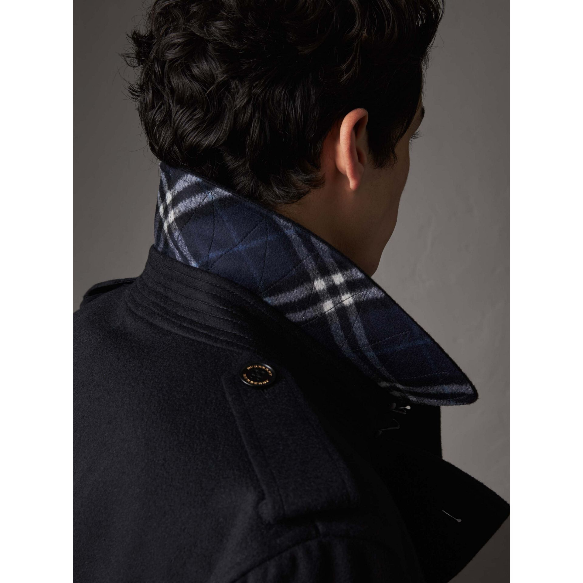 Cashmere Trench Coat in Navy - Men | Burberry - gallery image 1