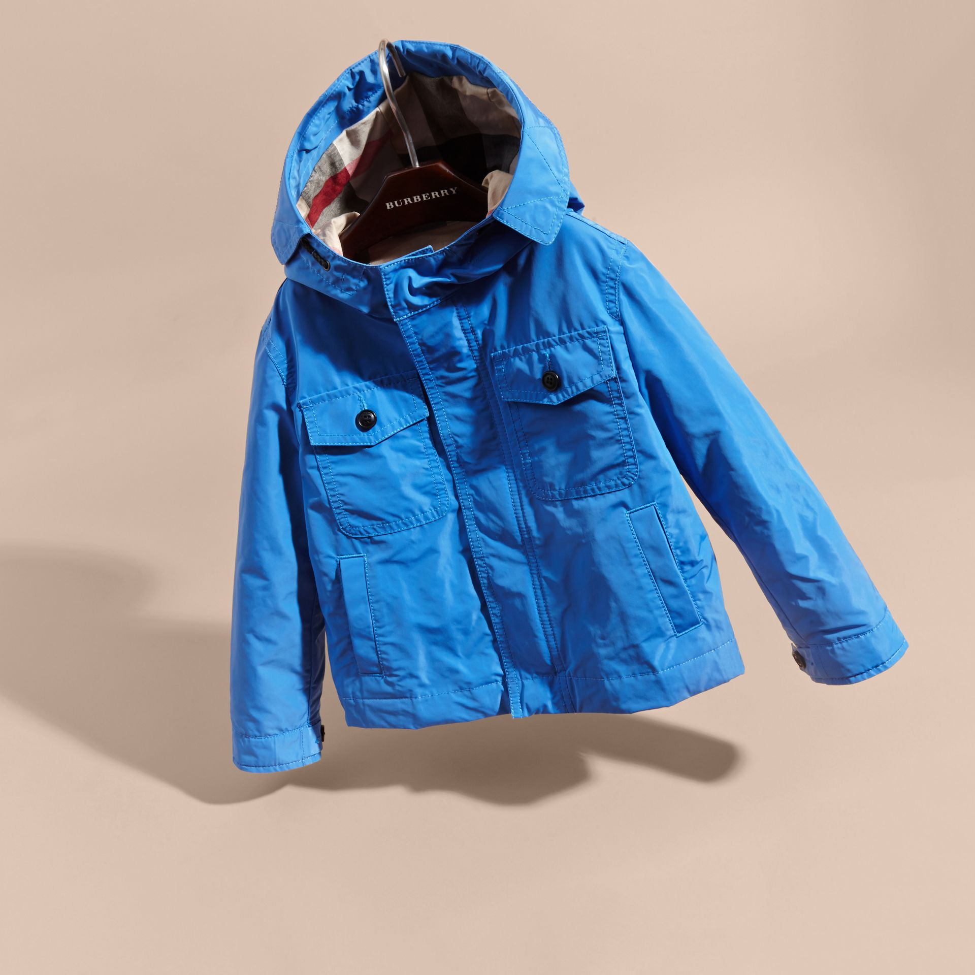 Hooded Field Jacket Bright Hydrangea Blue - gallery image 3