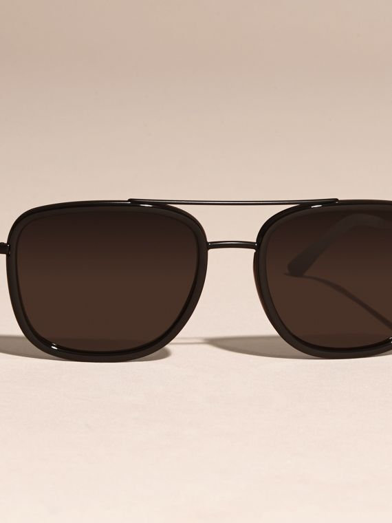Black Square Frame Acetate and Leather Sunglasses Black - cell image 2