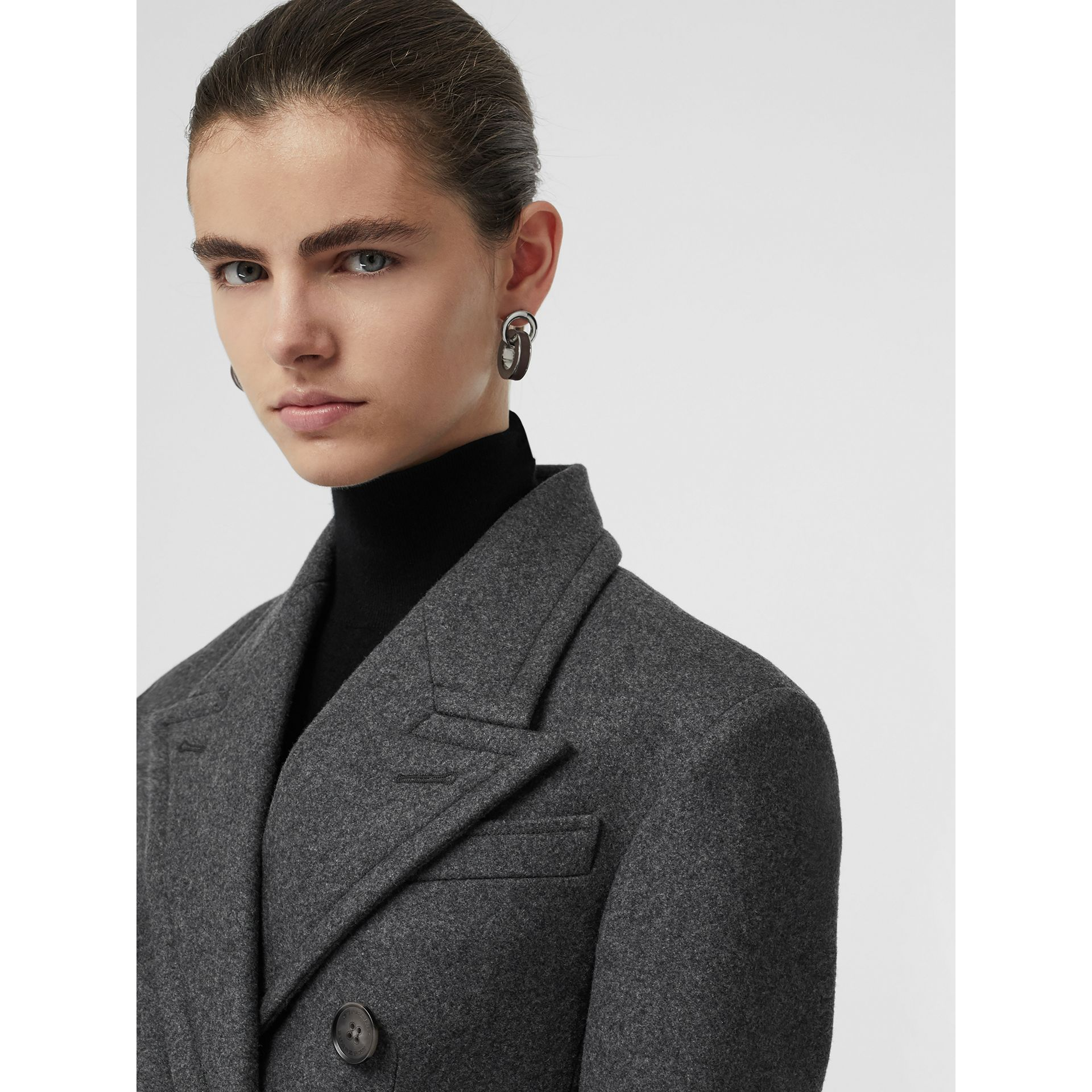 Double-breasted Wool Tailored Coat in Mid Grey Melange - Women | Burberry Australia - gallery image 1