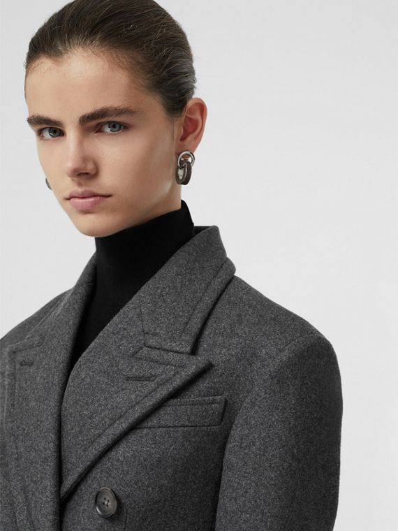 Double-breasted Wool Tailored Coat in Mid Grey Melange
