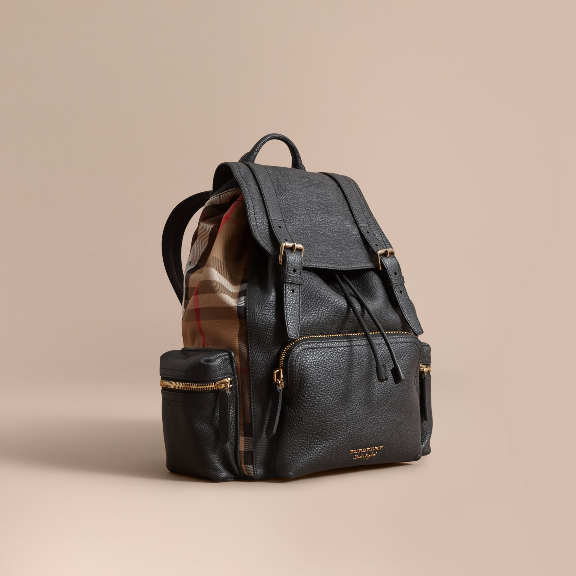 The Large Rucksack in Grainy Leather and House Check in Black | Burberry - gallery image 1