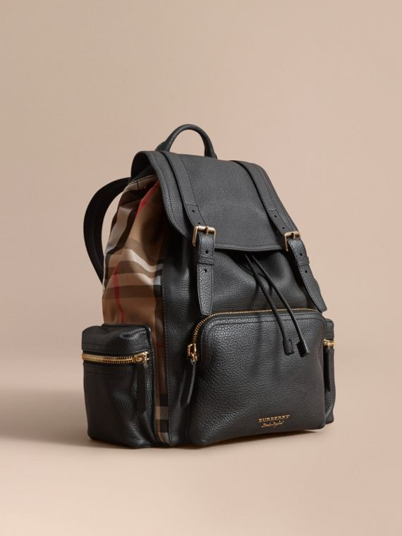 The Large Rucksack in Grainy Leather and House Check in Black