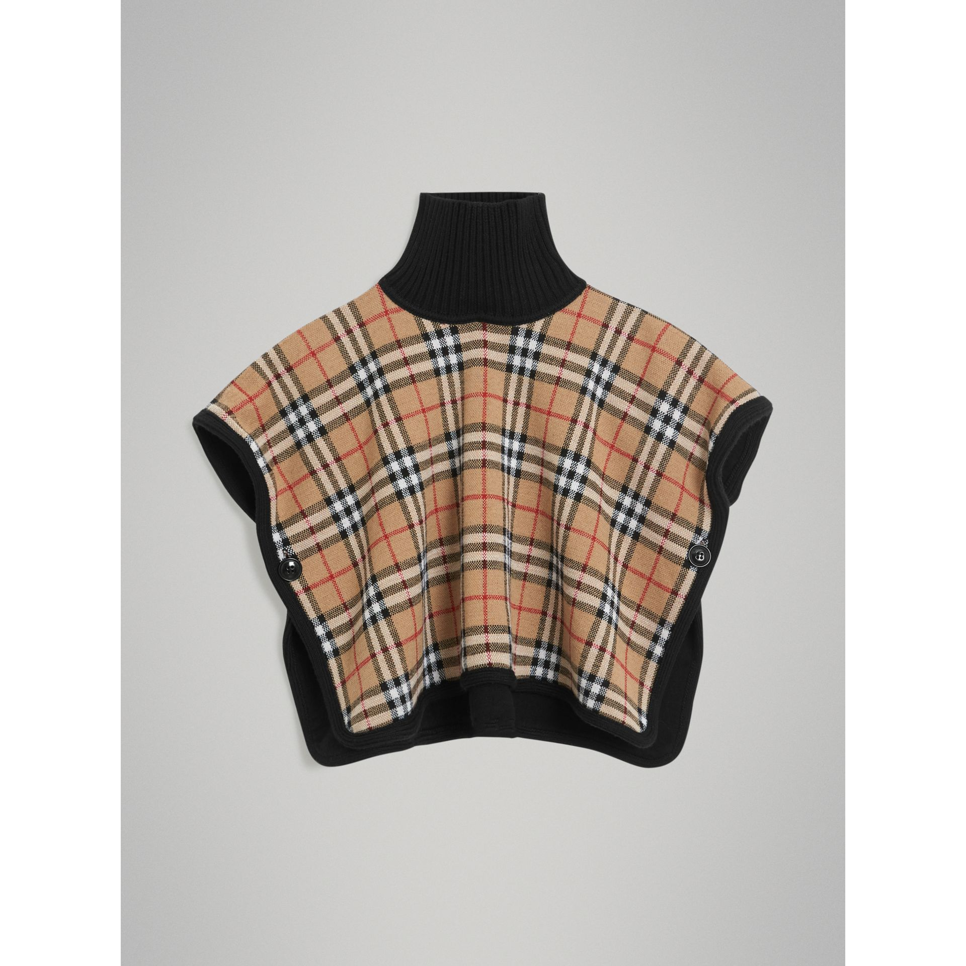 Reversible Vintage Check Merino Wool Jacquard Poncho in Black - Children | Burberry United States - gallery image 3