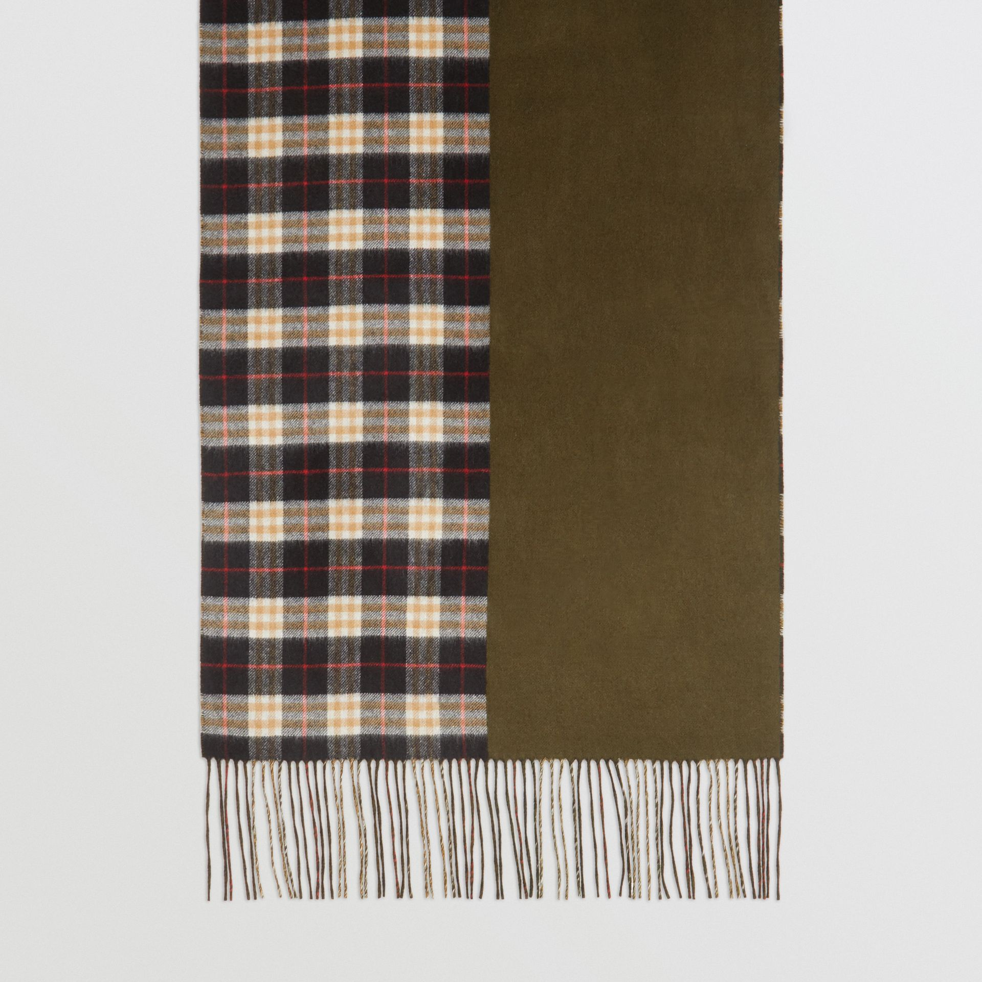 Colour Block Vintage Check Cashmere Scarf in Antique Green | Burberry - gallery image 4