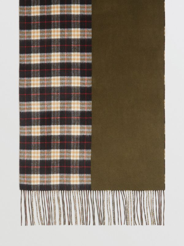 Colour Block Vintage Check Cashmere Scarf in Antique Green | Burberry - cell image 2