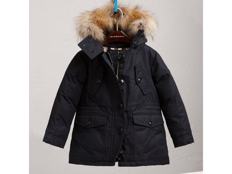 Detachable Raccoon Fur Trim Down-filled Hooded Puffer Coat in Navy - Girl | Burberry - cell image 4