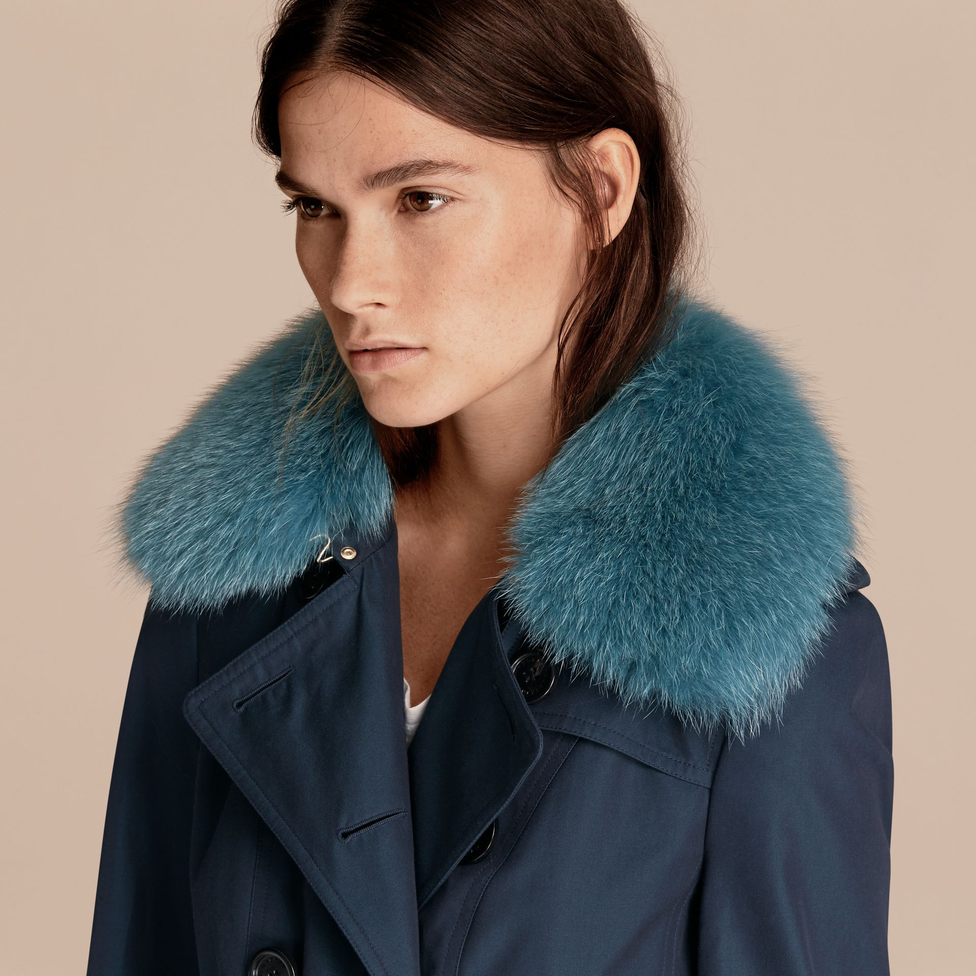 Teal blue Cotton Gabardine Trench Coat with Detachable Fur Collar and Warmer Teal Blue - gallery image 6