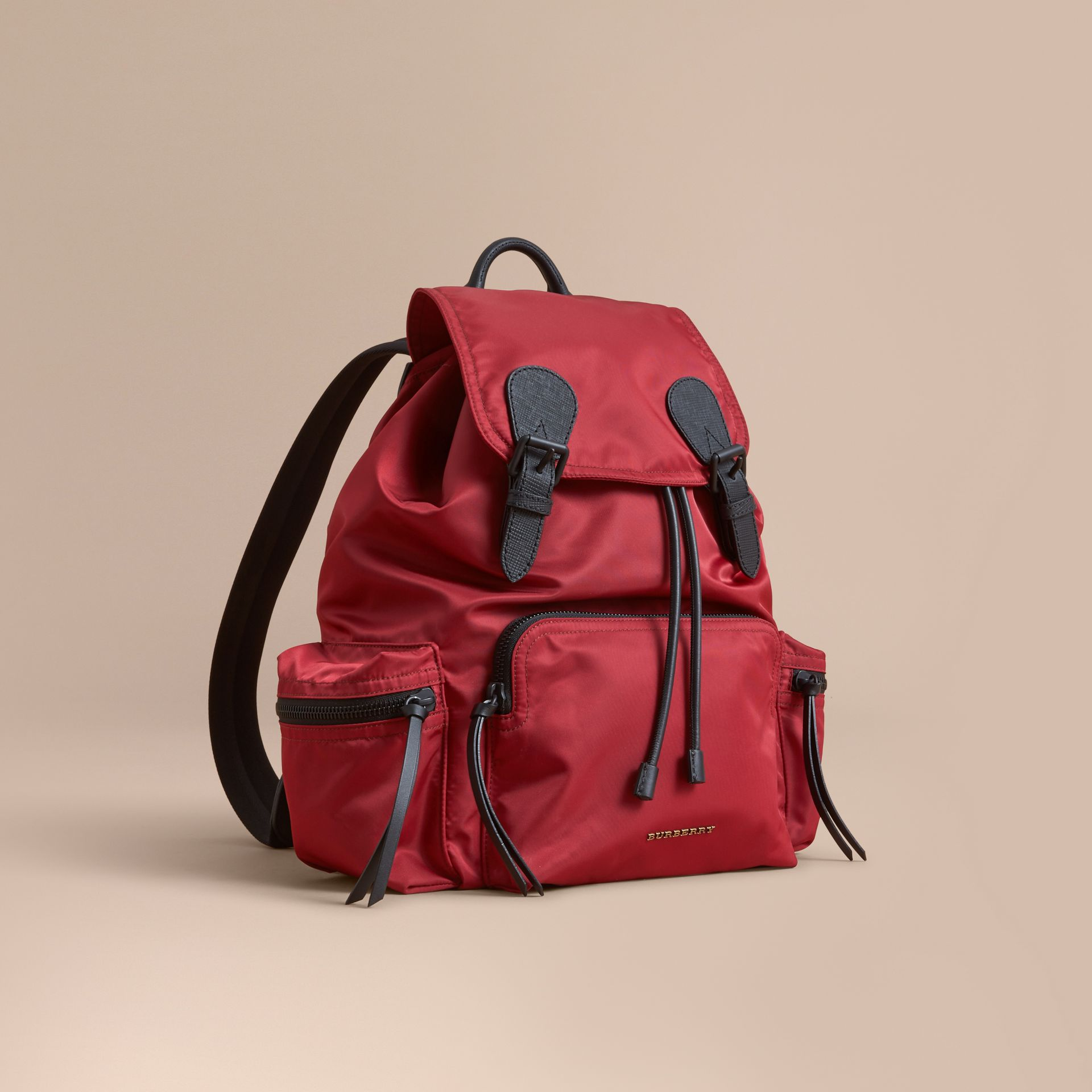 The Large Rucksack in Technical Nylon and Leather in Antique Red - Men | Burberry Singapore - gallery image 1