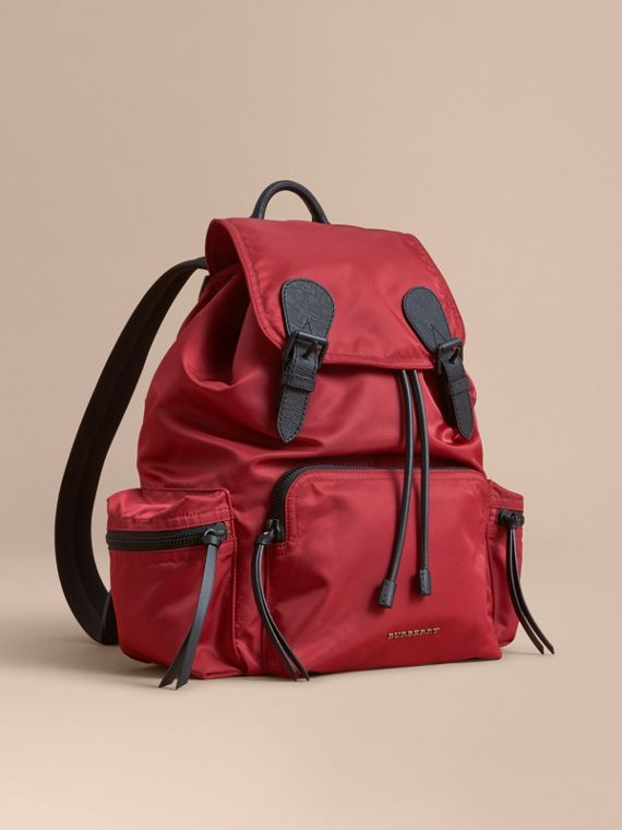The Large Rucksack in Technical Nylon and Leather in Antique Red