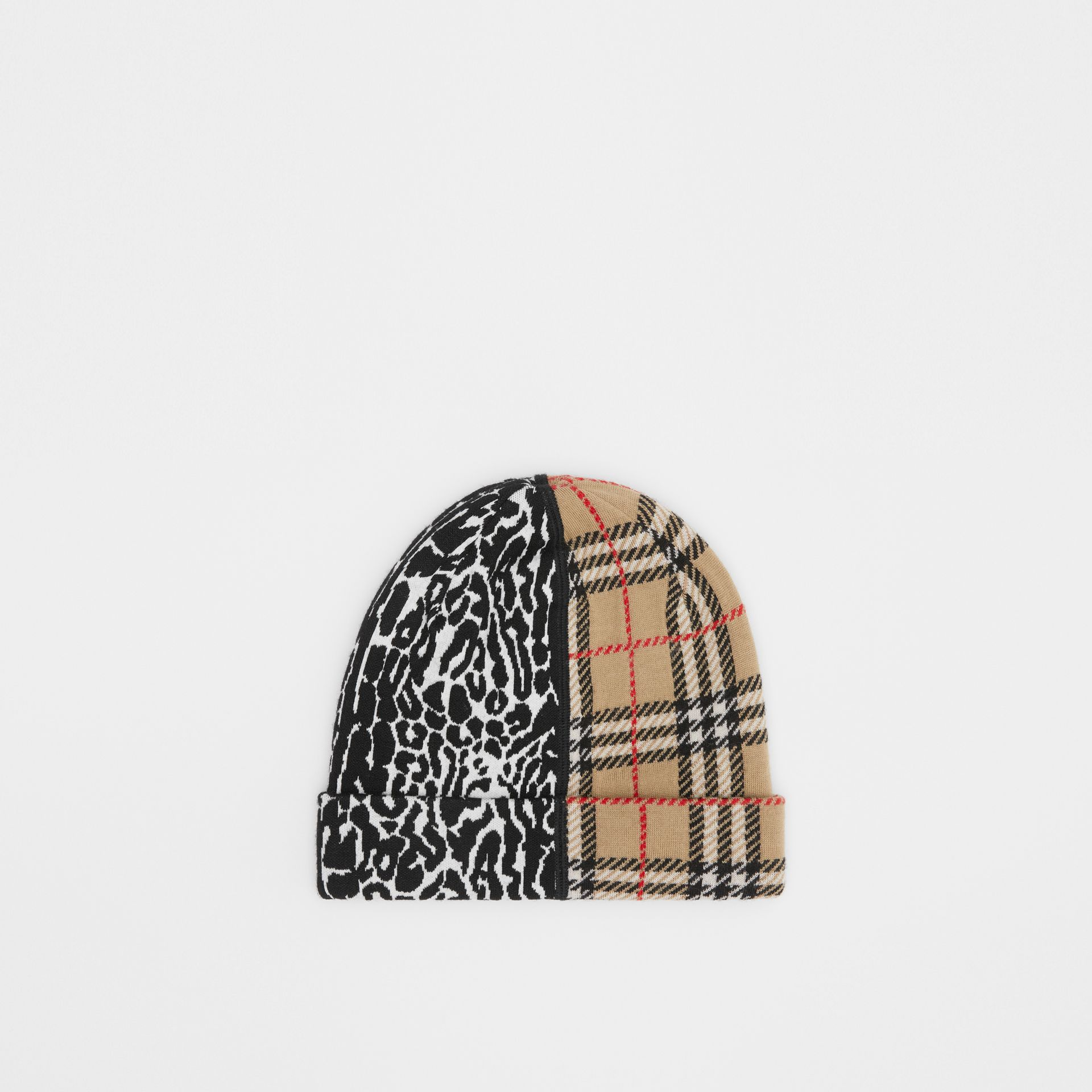 Check and Leopard Merino Wool Jacquard Beanie in Print - Children | Burberry United Kingdom - gallery image 3