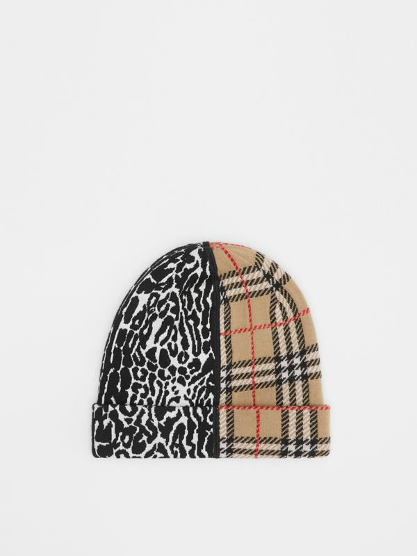 Check and Leopard Merino Wool Jacquard Beanie in Print - Children | Burberry United States - cell image 3