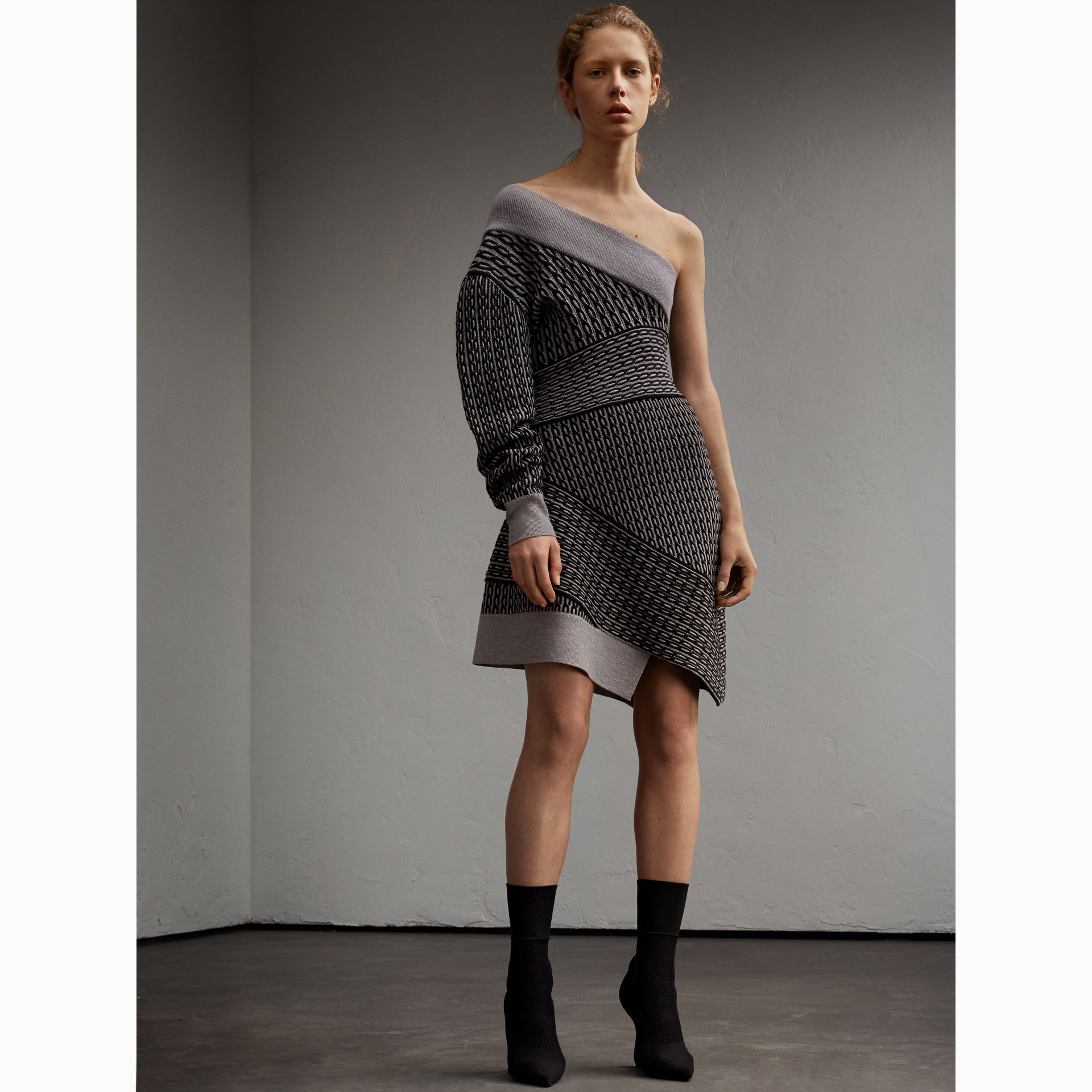 One-shoulder Cable Knit Wool Blend Dress in Grey Melange/black - Women | Burberry - gallery image 6