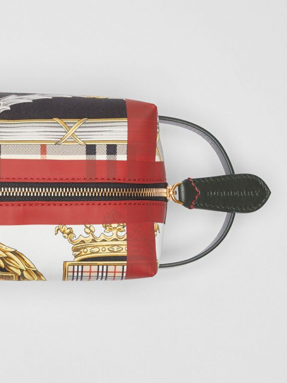 Archive Scarf Print Cotton Pouch in Dark Forest Green/burgundy - Women | Burberry United Kingdom - cell image 1