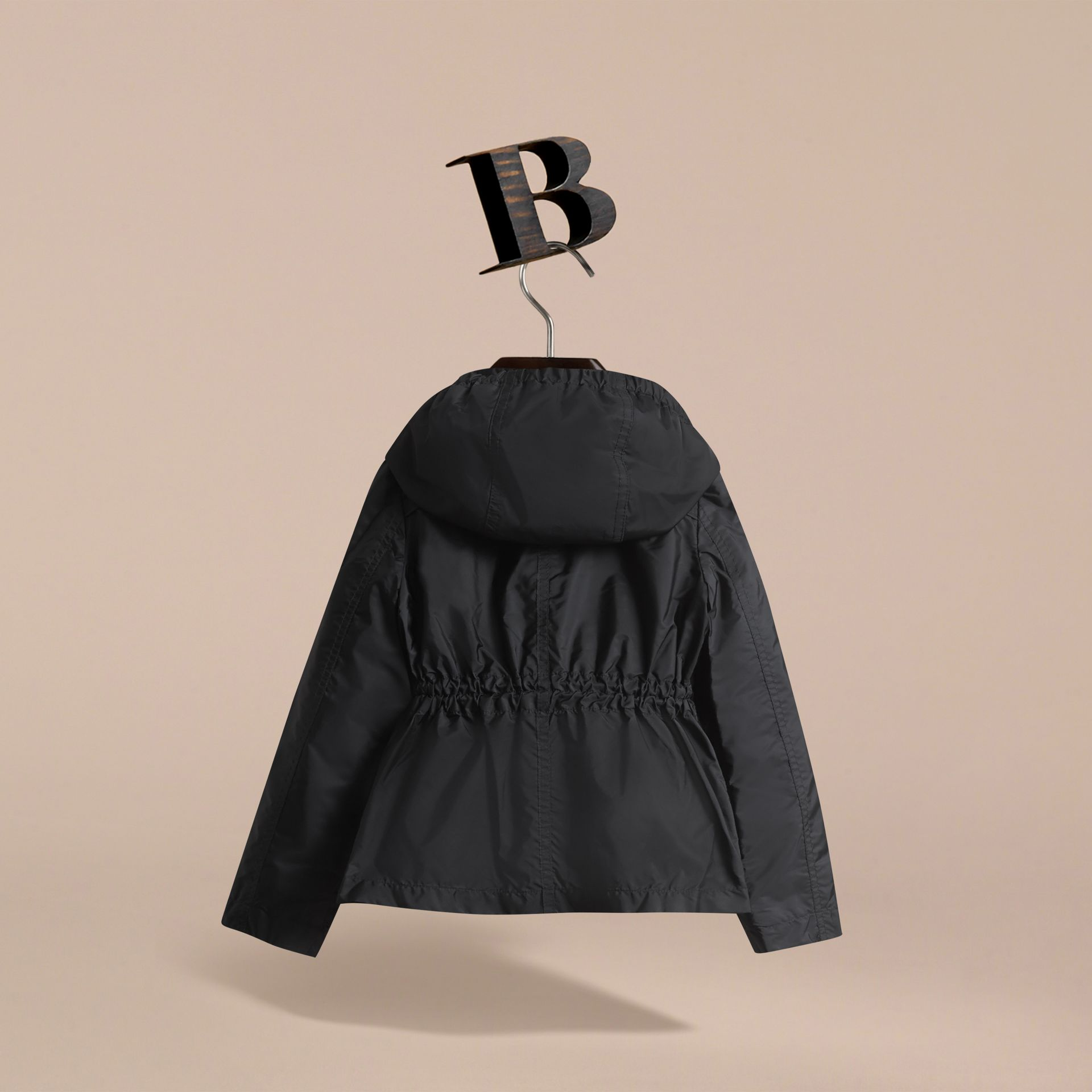 Hooded Packaway Technical Jacket in Black - Girl | Burberry - gallery image 4