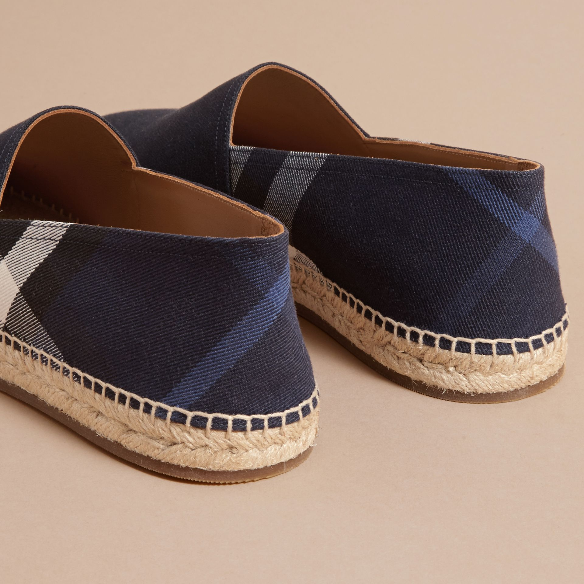 Overdyed House Check and Cotton Canvas Espadrilles - Men | Burberry Singapore - gallery image 4