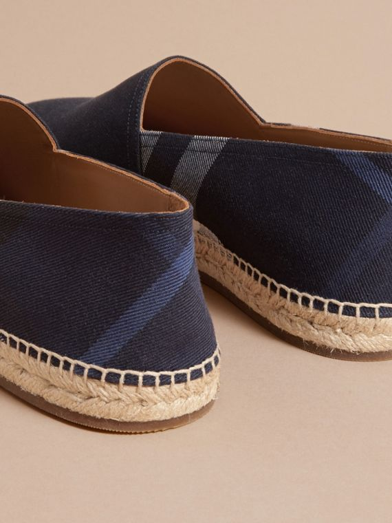 Overdyed House Check and Cotton Canvas Espadrilles in Indigo Blue - Men | Burberry Canada - cell image 3