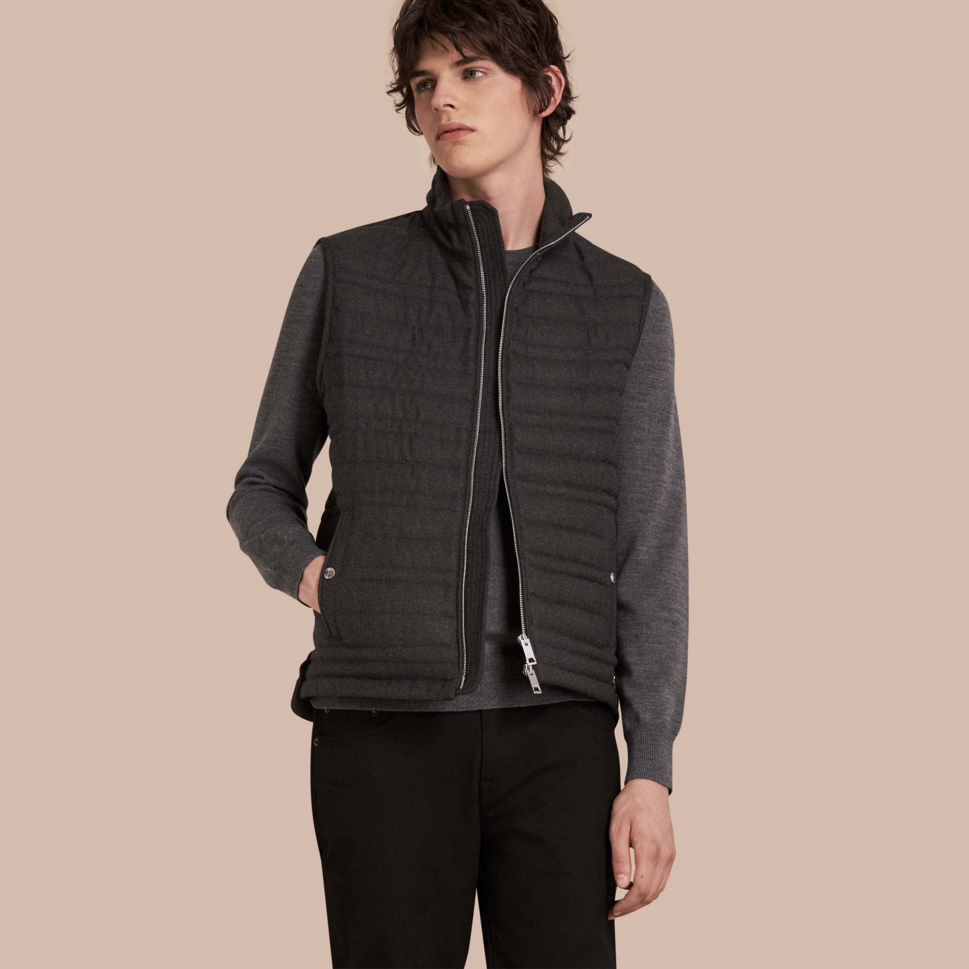 Dark grey melange Down-filled Wool Flannel Gilet - gallery image 1