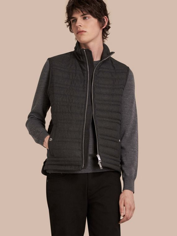 Down-filled Wool Flannel Gilet
